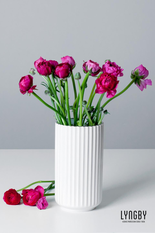 Nice Lyngby vase hvit med sølvkant, H 20 cm | Bestselgerklubben PX72